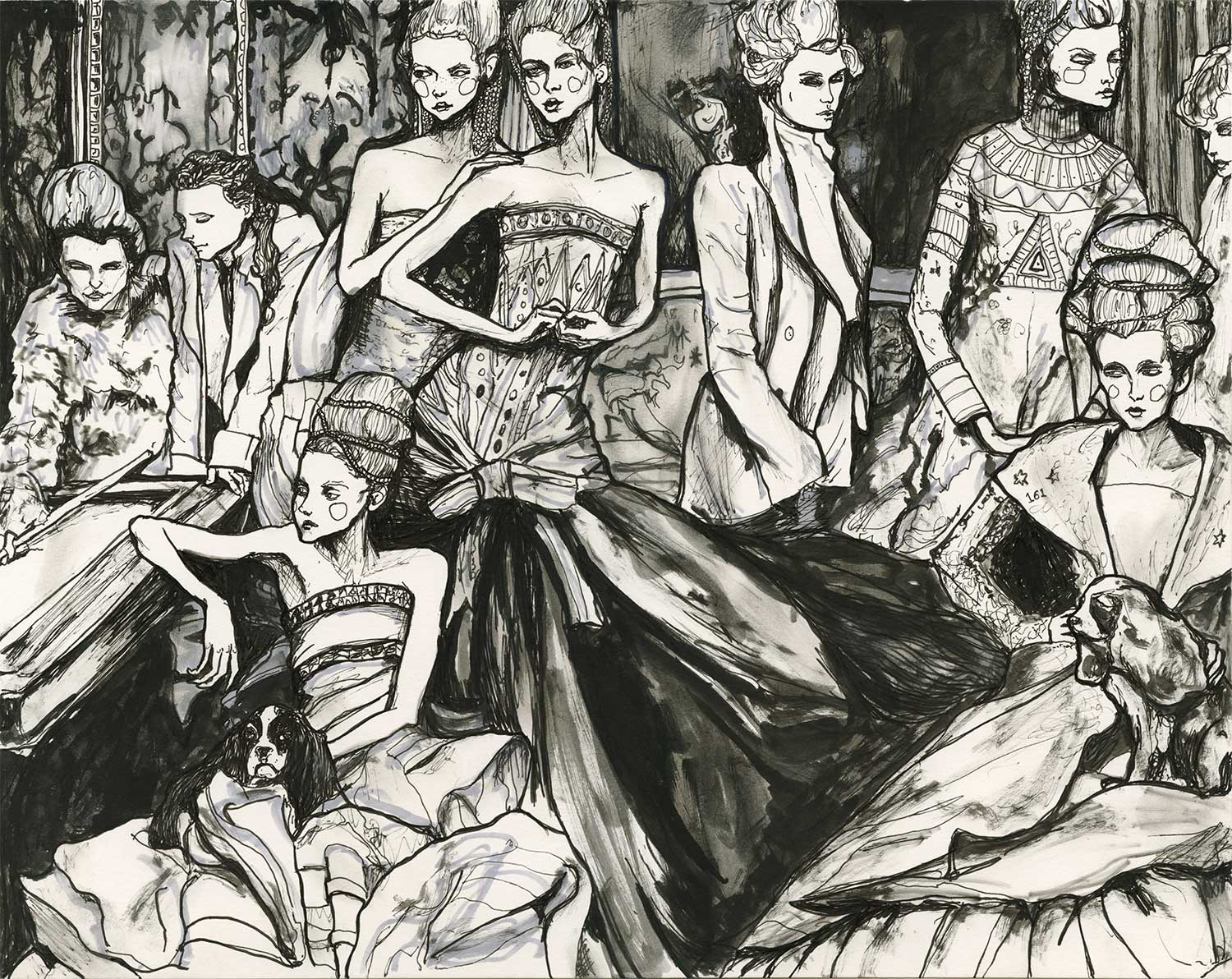 Artist Danny Roberts Ink and pen illustration inspired by Christian Dior Spring 2004 Haute Couture French by Photographer Annie Leibovitz, Vogue, 2004 photo