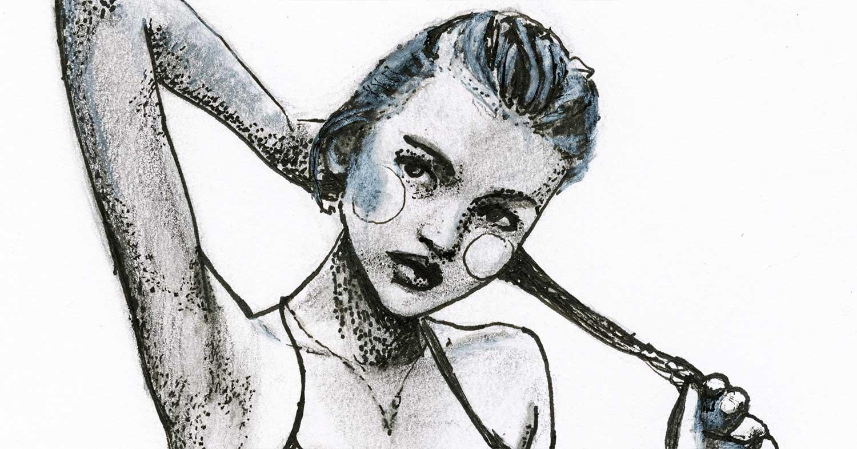 Details Close up of Stippling Drawing by Danny Roberts Art Pen Sketch of Model Anabela Belikava Figure Sketch.