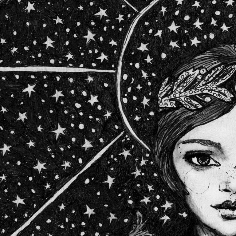 Illustrator Danny Roberts Starry night Girl Camille details 1