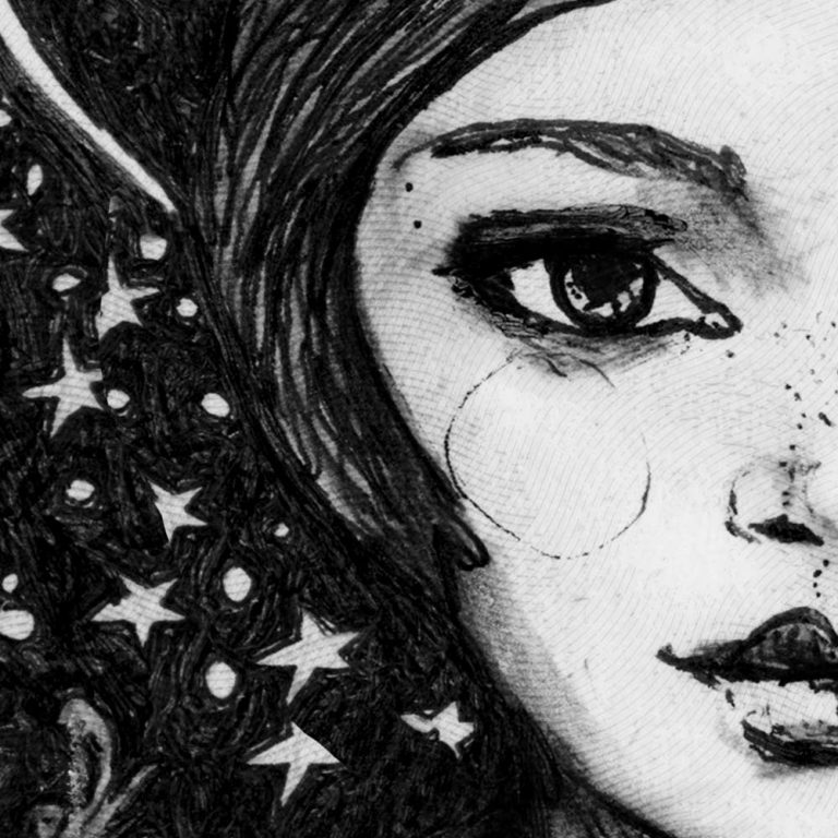 Illustrator Danny Roberts Starry night Girl Camille details 2