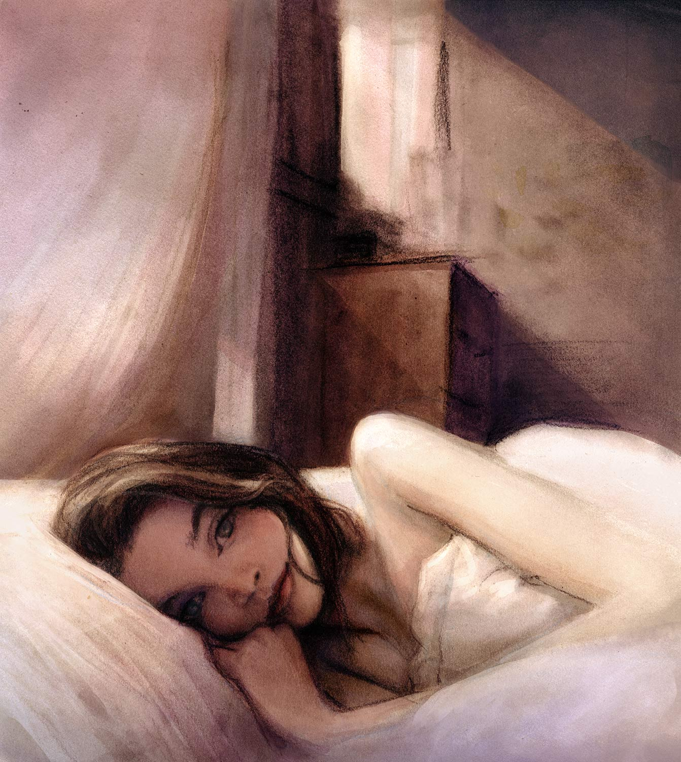 Beautiful soft portrait of model Richie Hines laying in bed morning light by danny roberts