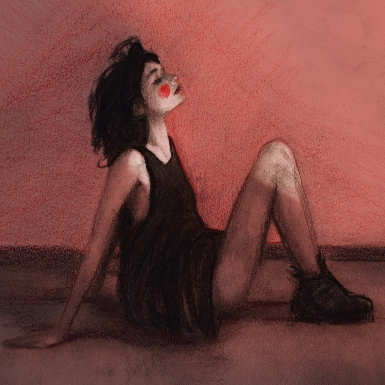 Artist Danny Roberts 5x5 print of a drawing Renata Gubaeva sitting in red print 5x5
