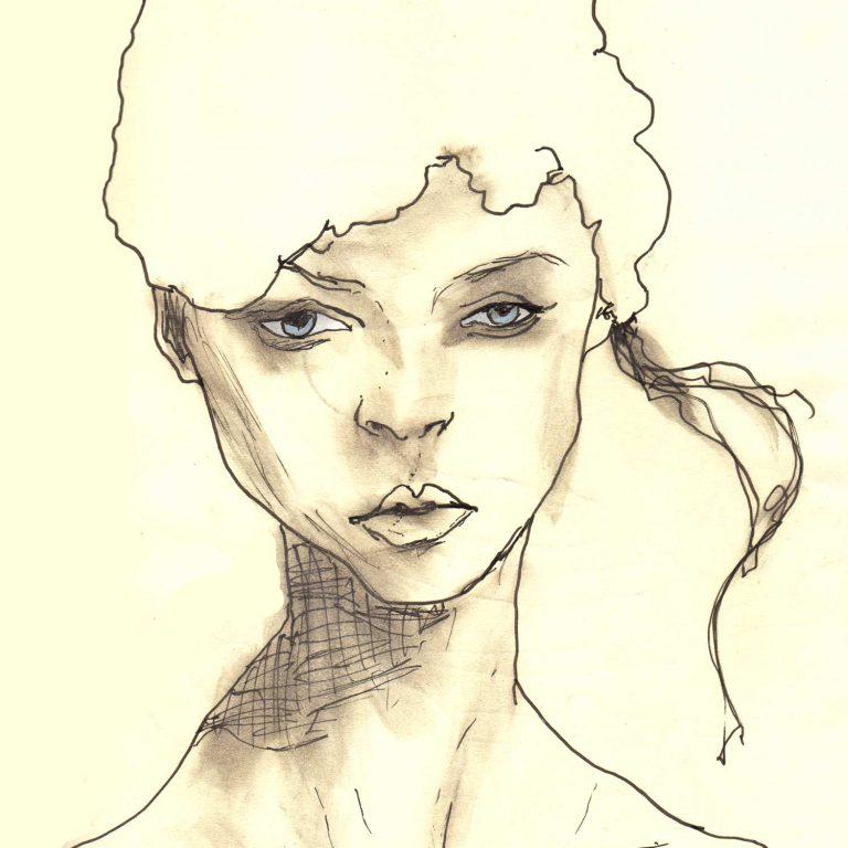 Sketchbook Whitehat girl 5x5 square prints details 2