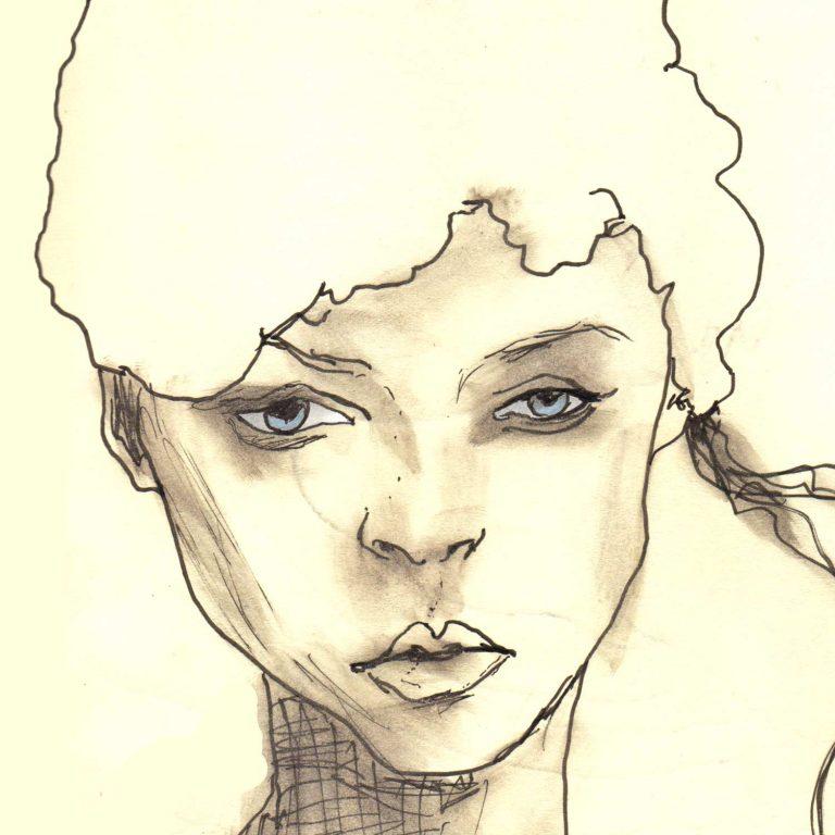 Sketchbook Whitehat girl 5x5 square prints details 1
