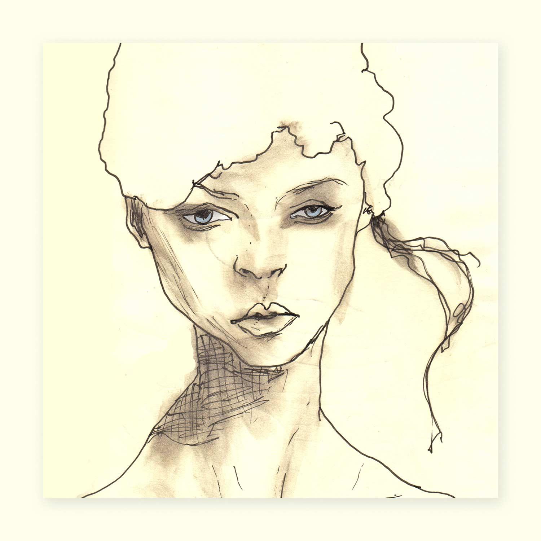 Sketchbook Whitehat girl 5x5 square prints