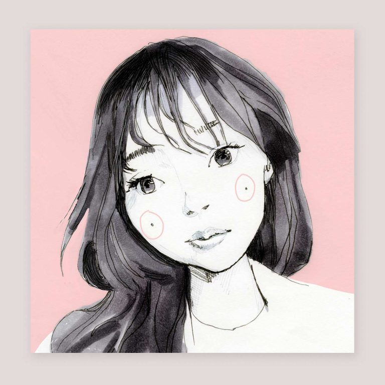 Yuki Nana Kato pink Study sketch square print
