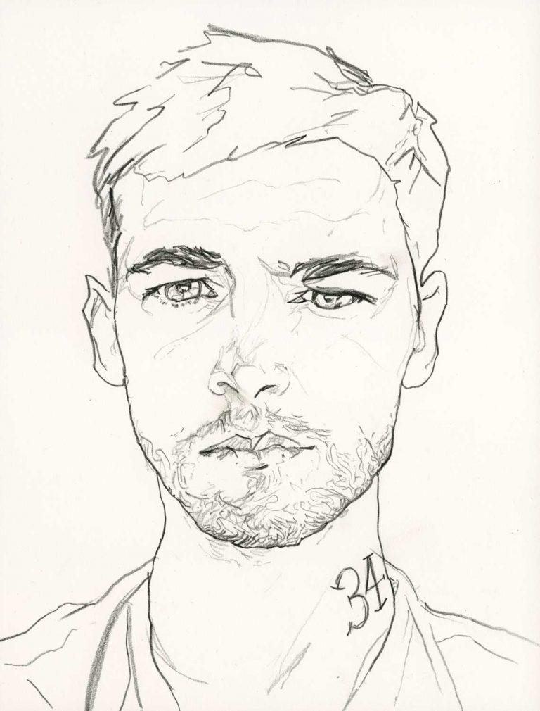 彼の34歳の誕生日の詳細写真のためのアーティストダニーロバーツ誕生日セルフポートレートの線画の8 x 11印刷