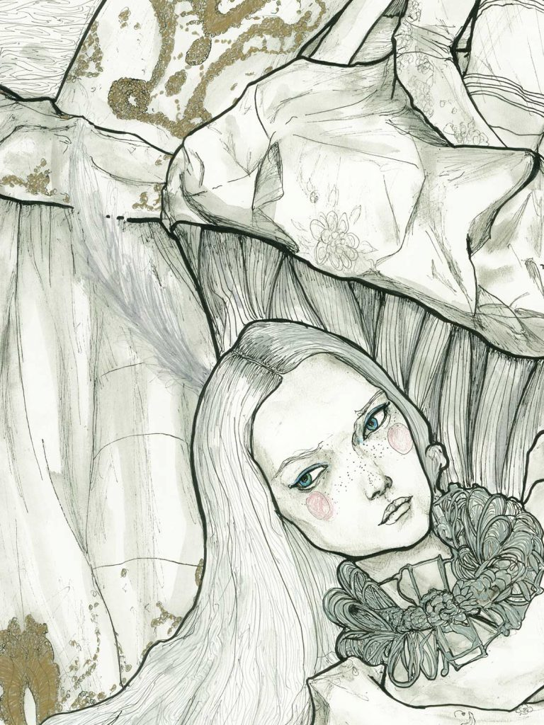 Artist Danny Roberts Ladies of Christian Dior Collection Limited Edition. Close up of gemma ward