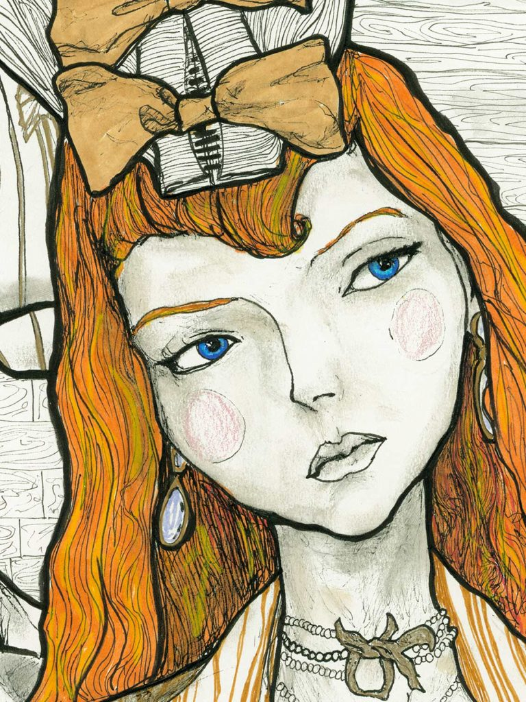 Artist Danny Roberts Ladies of Christian Dior Collection Limited Edition. Close up of lily cole