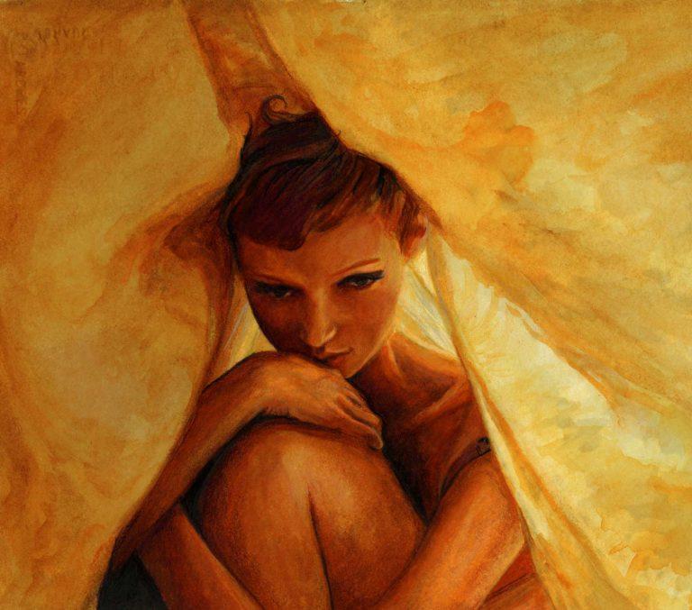 シートの下のモナ・ヨハネソンの芸術家ダニー・ロバーツ水彩研究