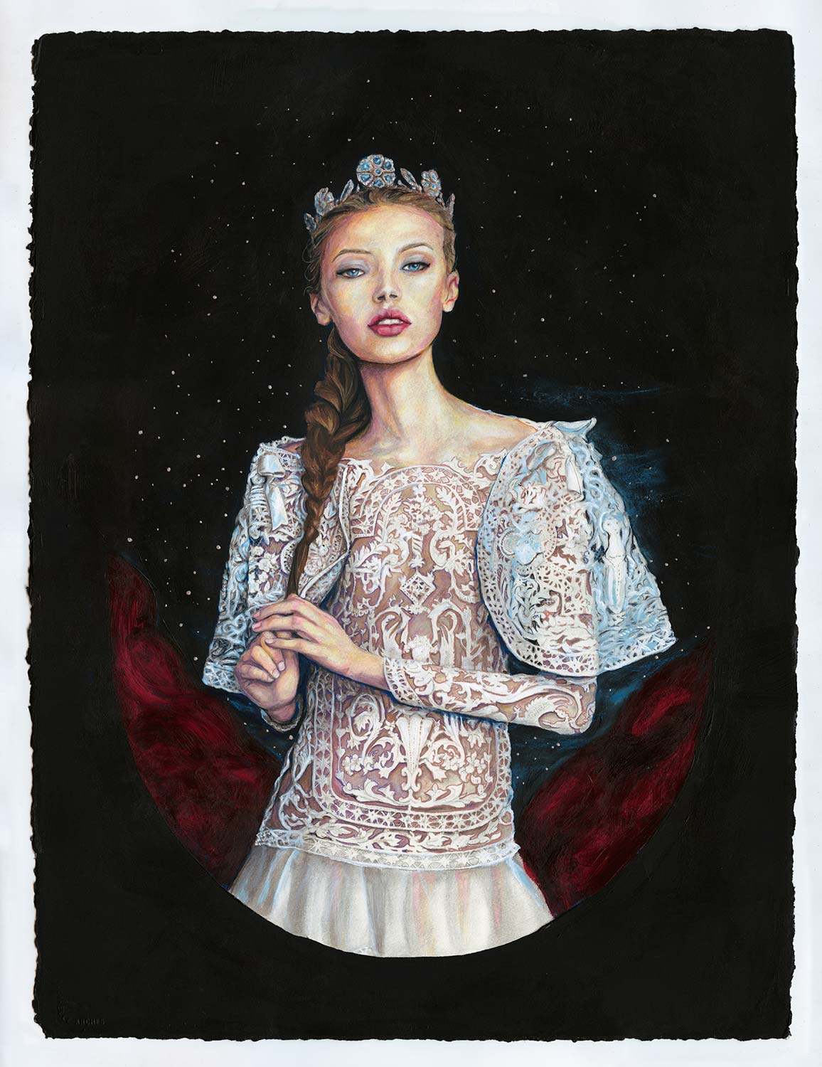 Artist Danny Roberts Fashion illustration of Mona Johannessen as princess Josette RoyalBall Marchesa Painting.