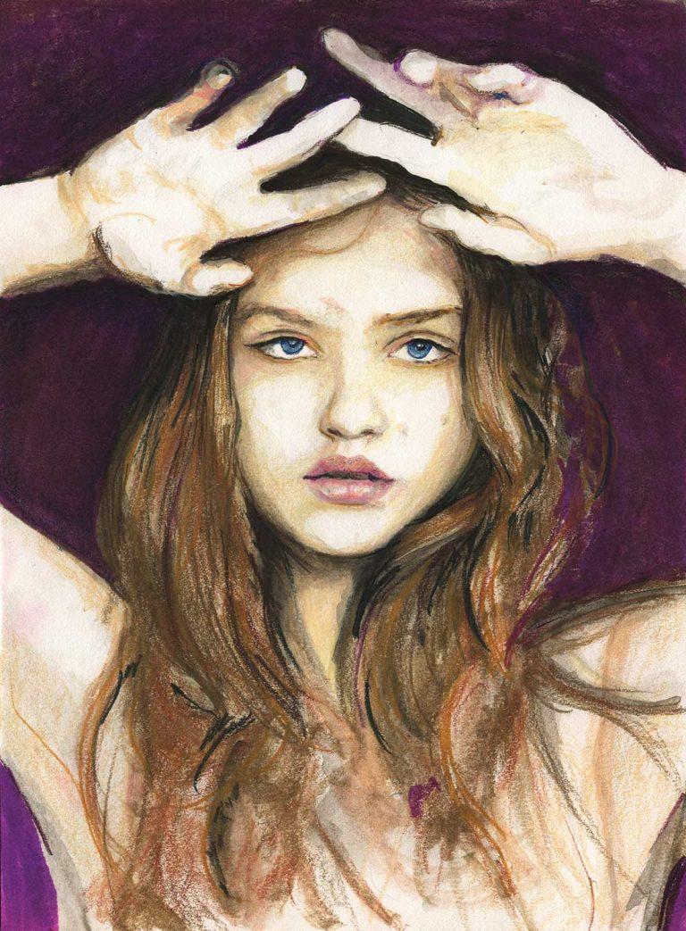 ファッションモデルのイラストレーター兼アーティストのダニー・ロバーツのファッションモデル、ラサ・ズカウスカイトの肖像