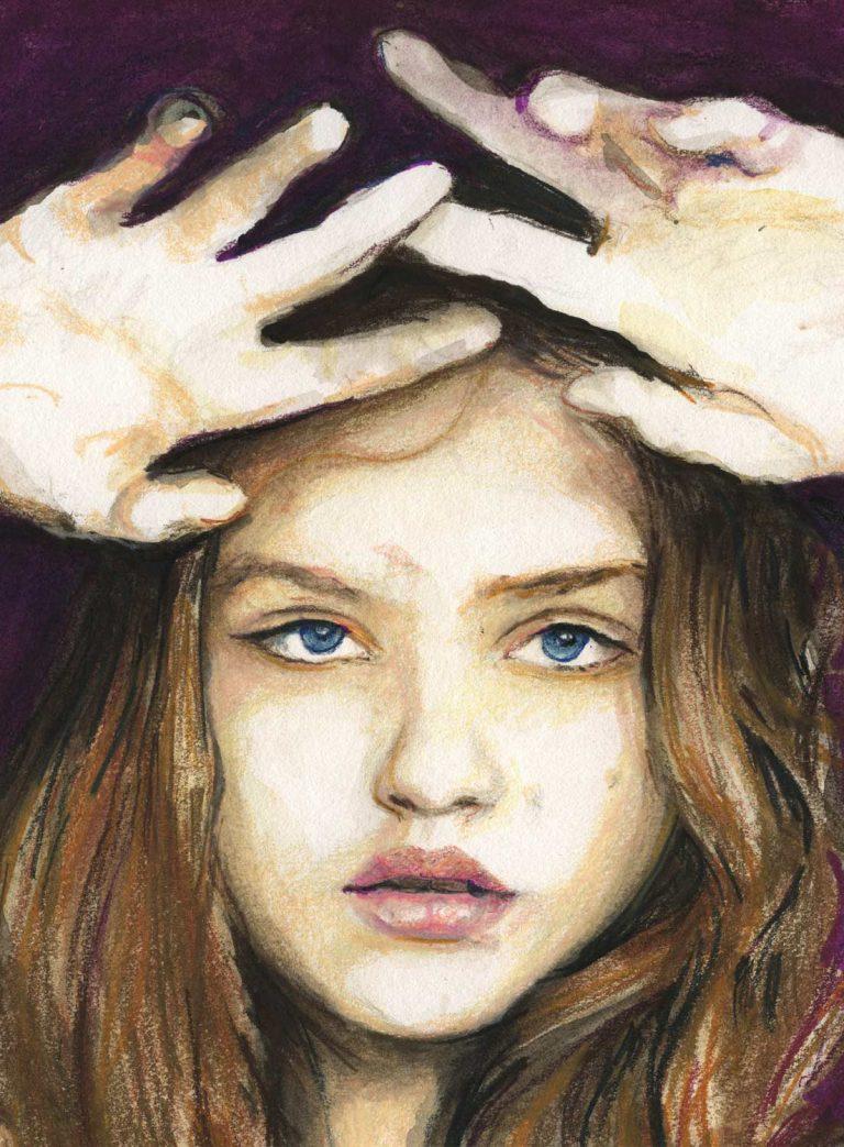 Close up Fashion model Rasa Zukauskaite hands and face portrait by of Fashion Artist Danny Roberts