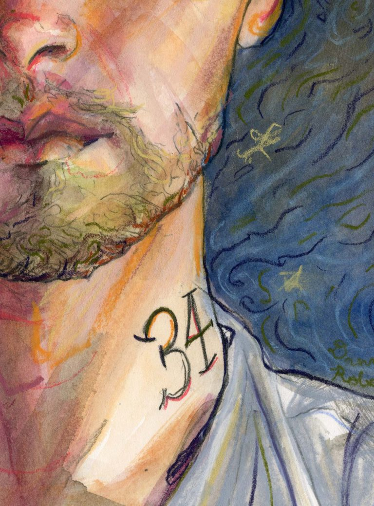 Close up Fashion illustrator danny roberts mouth and neck tattoo with 34 on hit for his birthday portrait