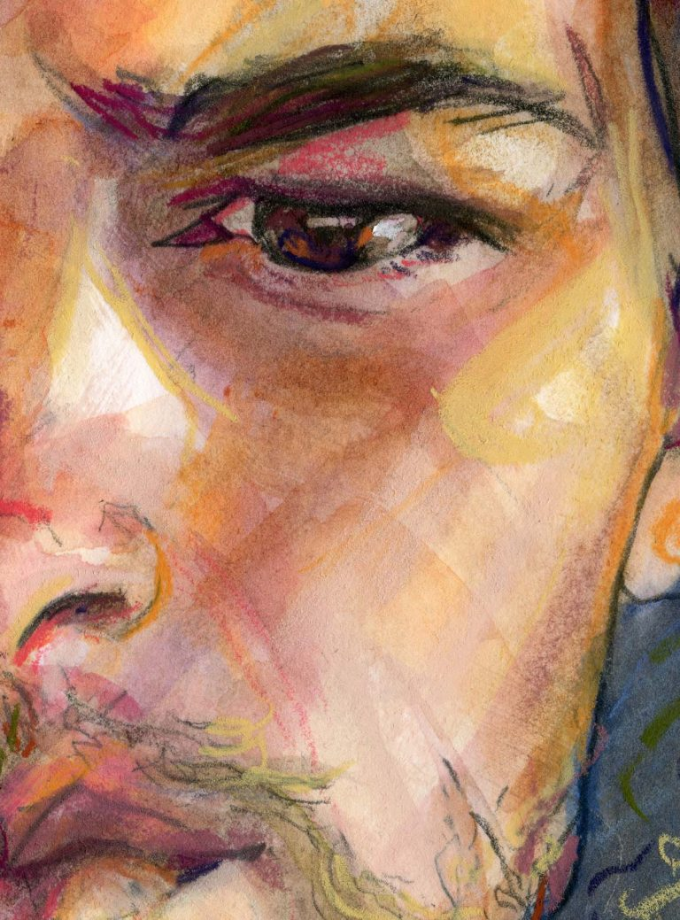 Fine Detail close up of Fashion artist Danny Roberts brown eyes.