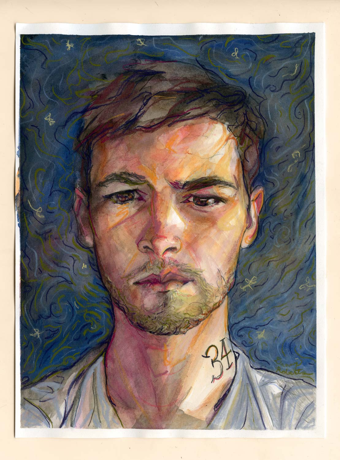 Water Color Painted self portrait of artist and Igor and andre Fashion Illustrator Danny Roberts for his 34 birthday