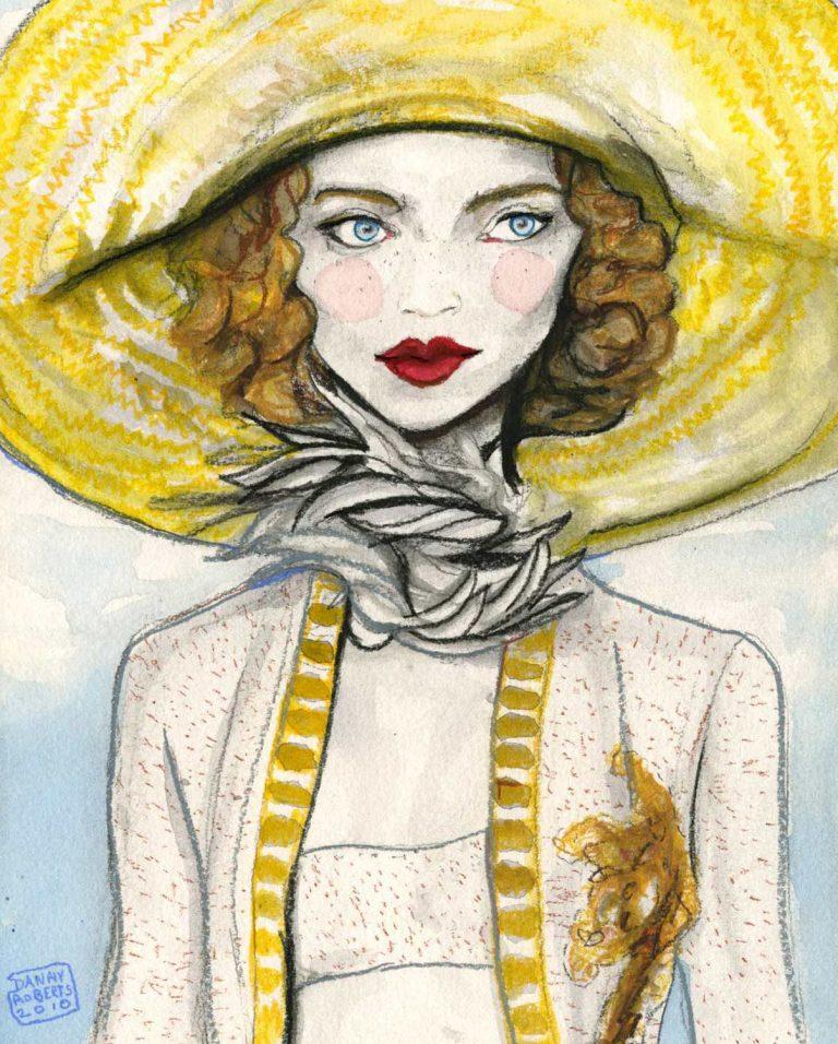 水彩画は、ファッションイラストレーターのダニーロバーツによるマークジェイコブス2011年春コレクションに触発されました。