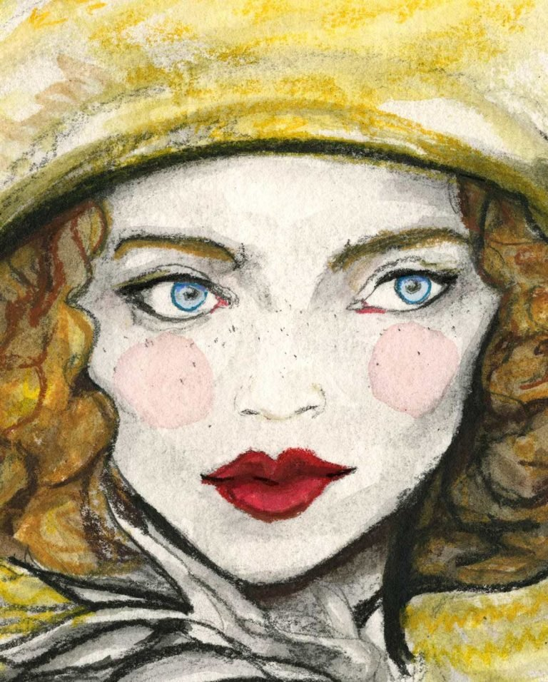 Close up of girl with blue eyes from by Fashion illustrator Danny Roberts.