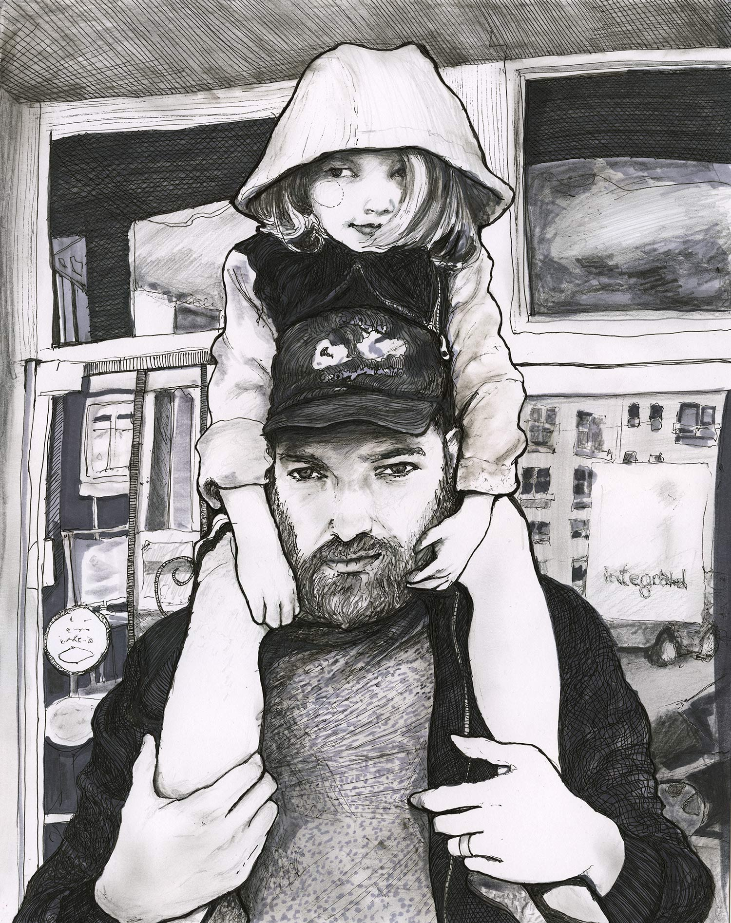Pen and ink black and white illustration of Darren king and Scarlett King by artist Danny Roberts