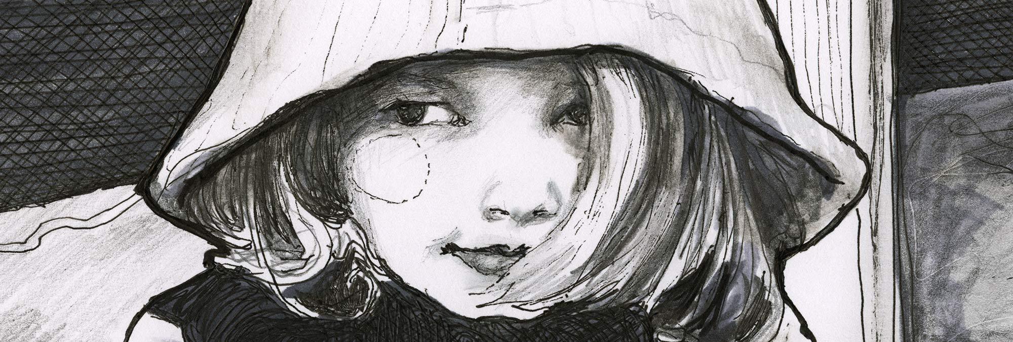 Close up of Artist Danny Roberts Pen drawing of Scarlett King 画家ダニー・ロバーツによるスカーレット・キングの拡大図