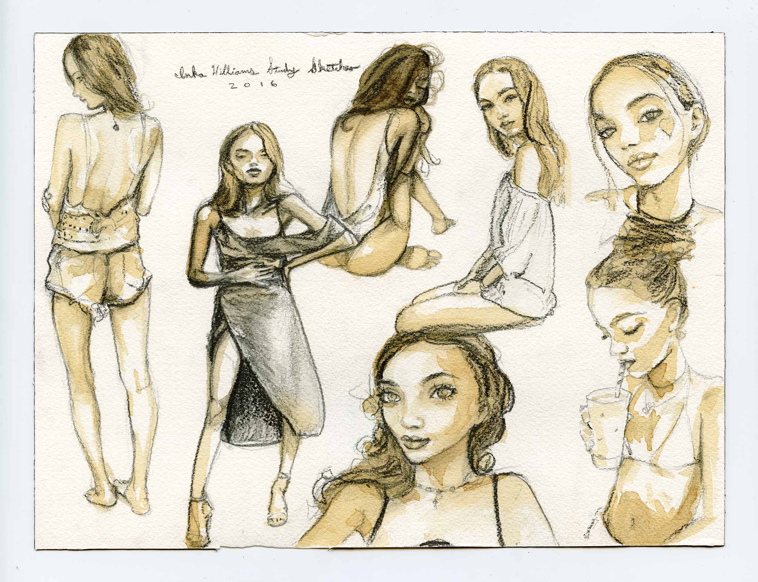 Artist Danny Roberts Coffee and Pencil Daily Gesture Sketches of model Inka Williams
