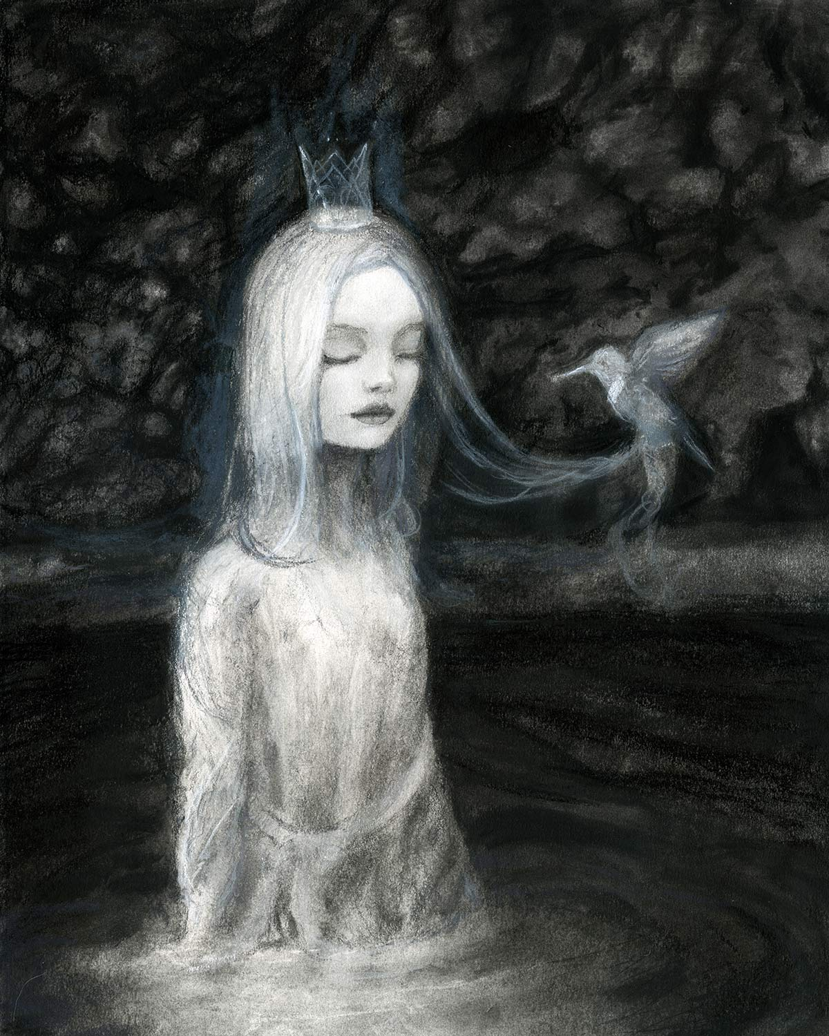 artist Danny Roberts Storybook art featuring Camille queen of the trees in the water