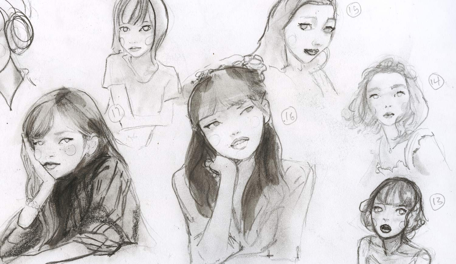 Artist Danny Roberts Sketchbook Portraits study For Manga Character Yuki Tachibana Lost in the Crowd