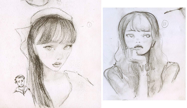 Quick loose Sketchbook Drawing by igor + andre artist Danny Roberts of two girls. 2人の女の子のイゴール+アンドレアーティストダニーロバーツによる素早いスケッチブックの描画
