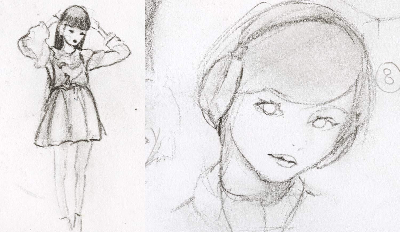 Artist Danny Roberts sketch of Yuki Tachibana wearing headphones. アーティストのダニー・ロバーツは、橘ゆきをヘッドフォンでスケッチしています。
