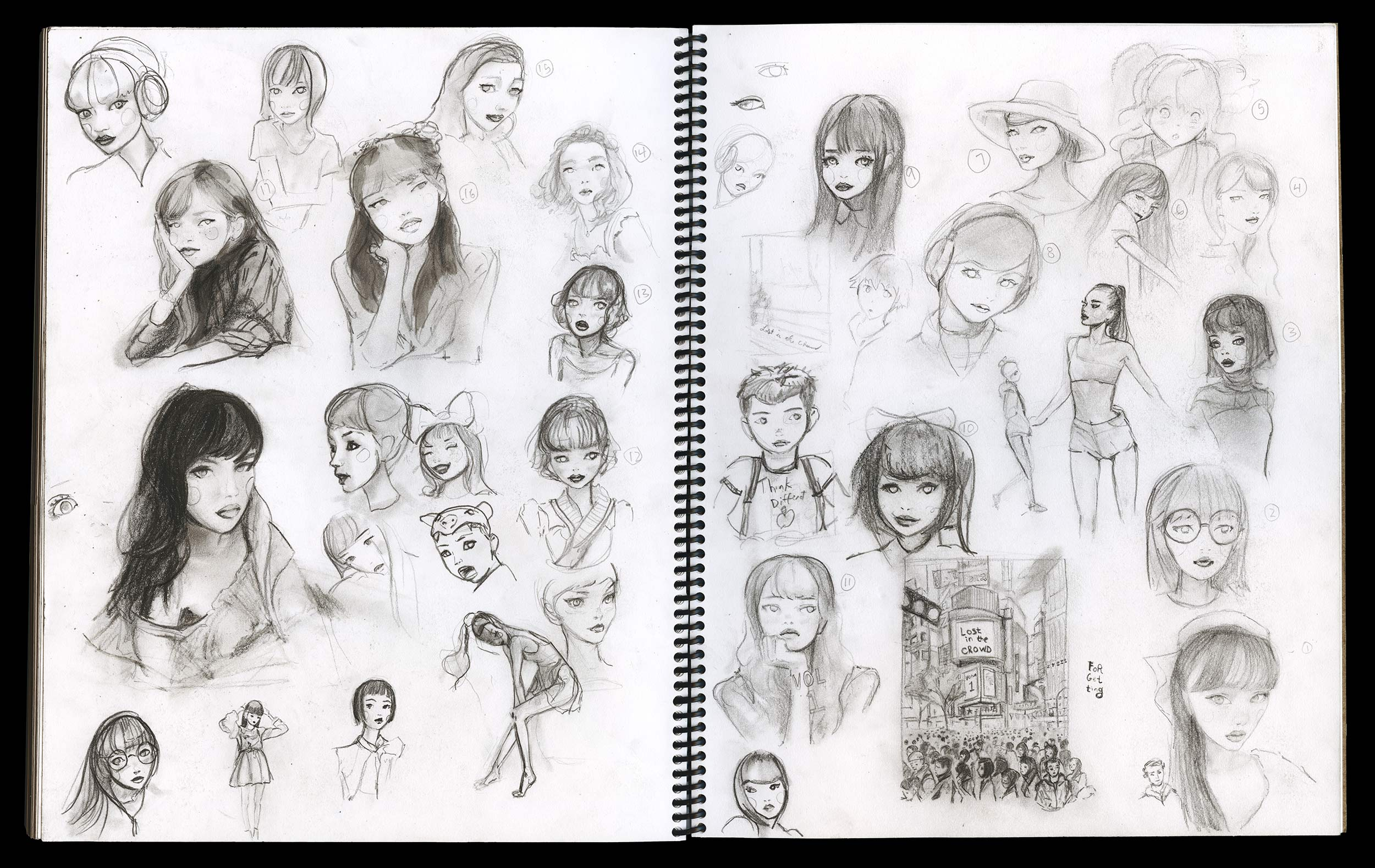 A Sketch book page of Faces by Danny Roberts. ダニー・ロバーツによるFacesのスケッチブックページ。