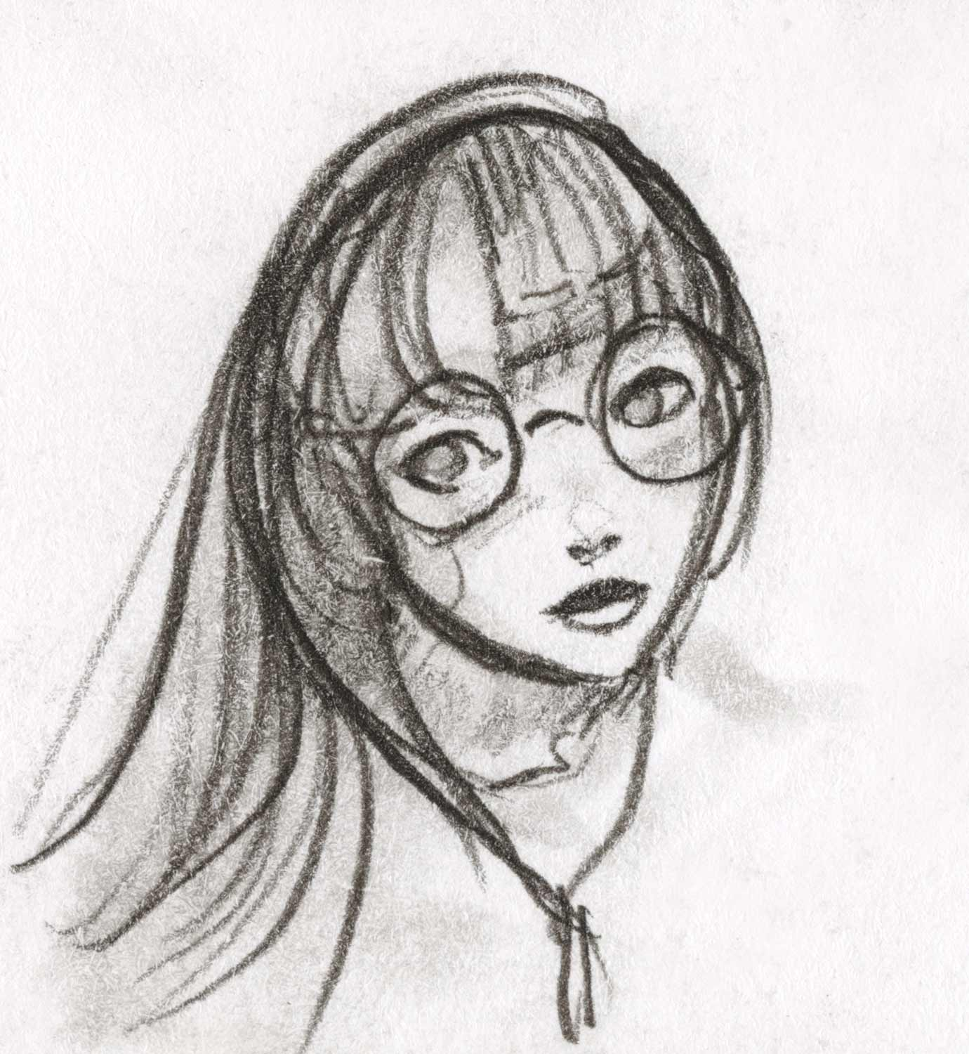 drawing of a girl wearing glasses by Danny Roberts Character design. ダニー・ロバーツによる眼鏡をかけた少女のキャラクターデザイン