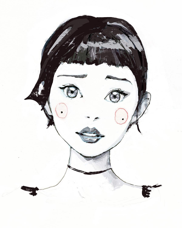 Artist Danny Roberts Character Sketch of Yuki Tachibana. Expression Chart.アーティストダニー・ロバーツ橘由貴のキャラクタースケッチ。式チャート。