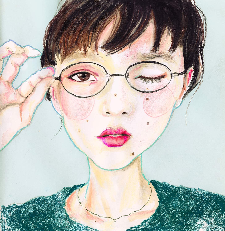Danny Roberts art portrait drawing of Japanese model Miyako 眞鍋 都 (Miiiyaaakooo) アーティストのダニー・ロバーツによる日本のモデルミヤコの肖像