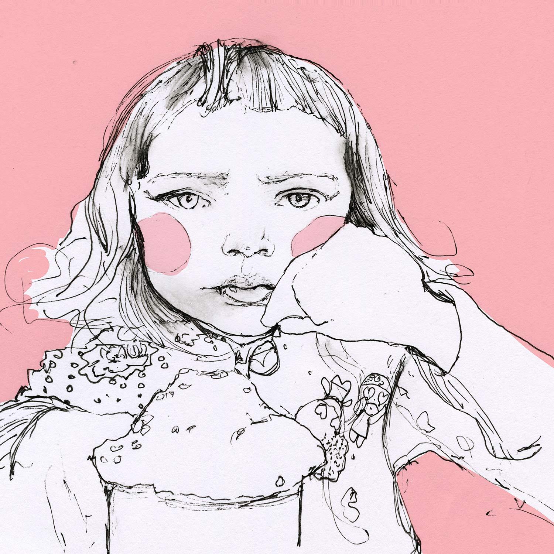 Artist Danny Roberts Sketch of Max and sherri Bemis daughter Lucy. アーティストのダニー・ロバーツによる、ルーシーのスケッチ、マックスとシェリー・ベミスの娘