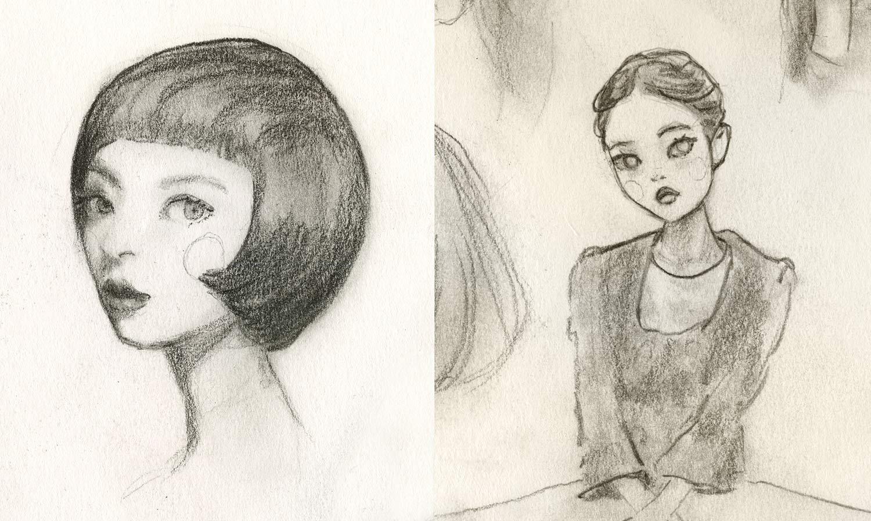 Danny Roberts Sketches of girls faces in sketchbook. ダニー・ロバーツスケッチブックの女の子の顔のスケッチ