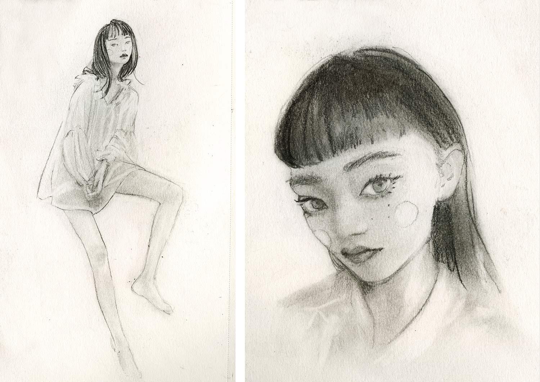 Artist Danny Roberts Sketches of girls faces in sketchbook. アーティストのダニー・ロバーツのスケッチブックに写っている女の子のスケッチ