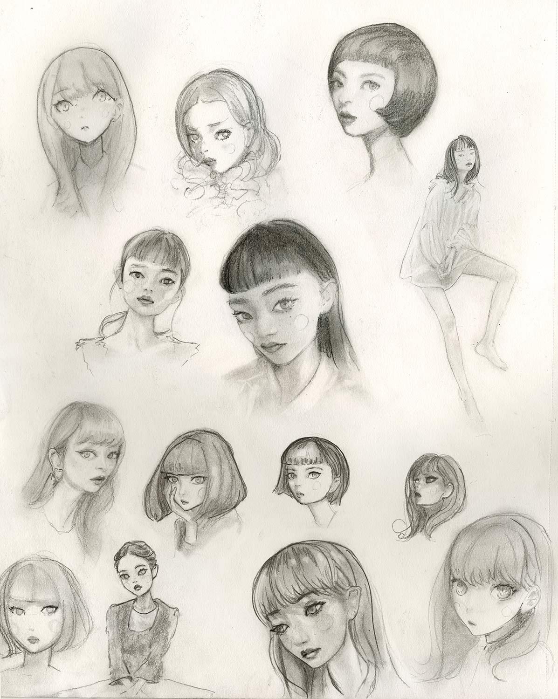 sketchbook page full of Artist Danny Roberts Sketches of girls faces. アーティストのダニー・ロバーツのスケッチブックのページは、女の子の顔のスケッチです。