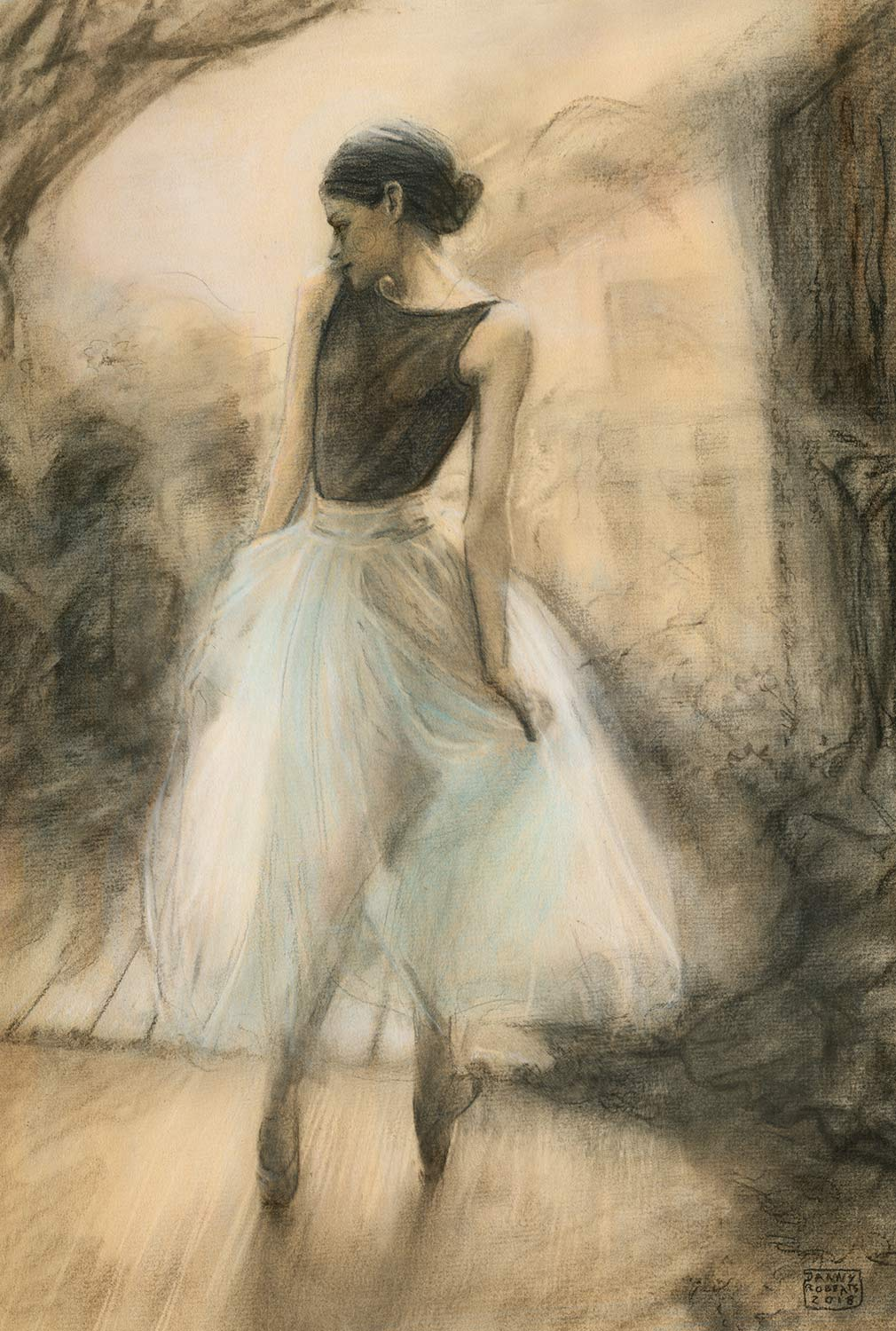 Artist Danny roberts charcoal sketch of Ballerina Cate Hurlin photo by Katie Rodgers