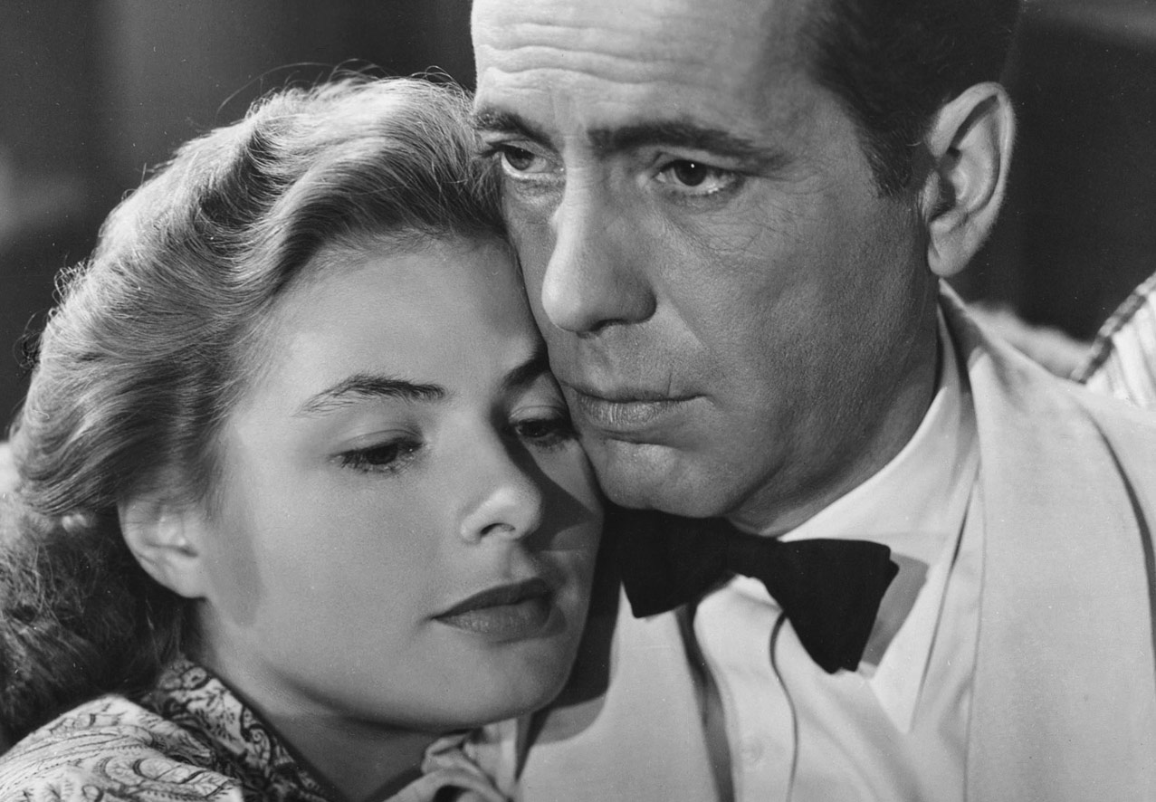 still black and white photo from the movie Casablanca of humphrey bogart and ingrid bergman