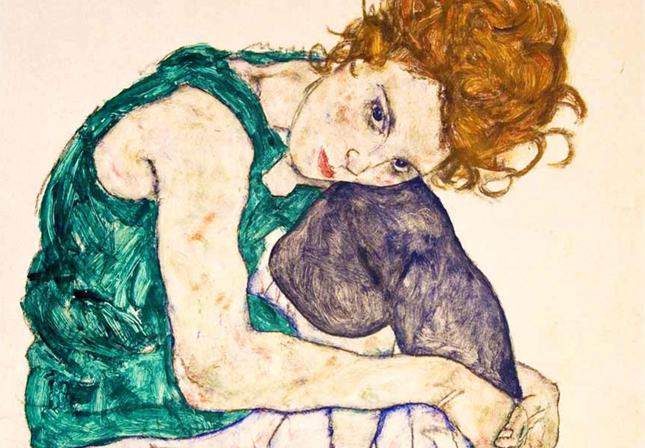 Edith women sitting with red hair and tights by Egon Schiele