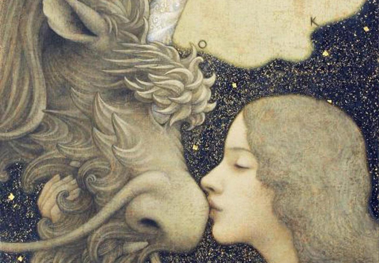Enoki Toshiyuki's Beautiful painting of a women kissing a unicorn.ユニコーンにキスする女性の榎俊幸による美しい絵画