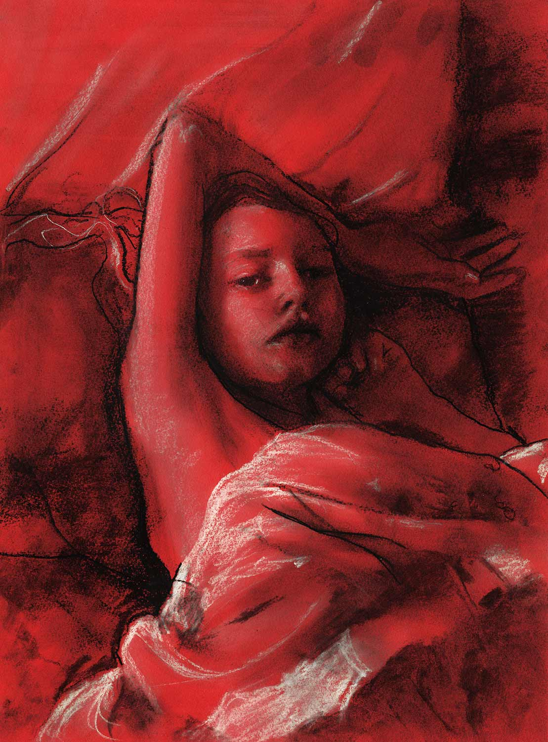 Red tone paper Charcoal and white  of a girl laying on her back sketch by Artist Danny Roberts