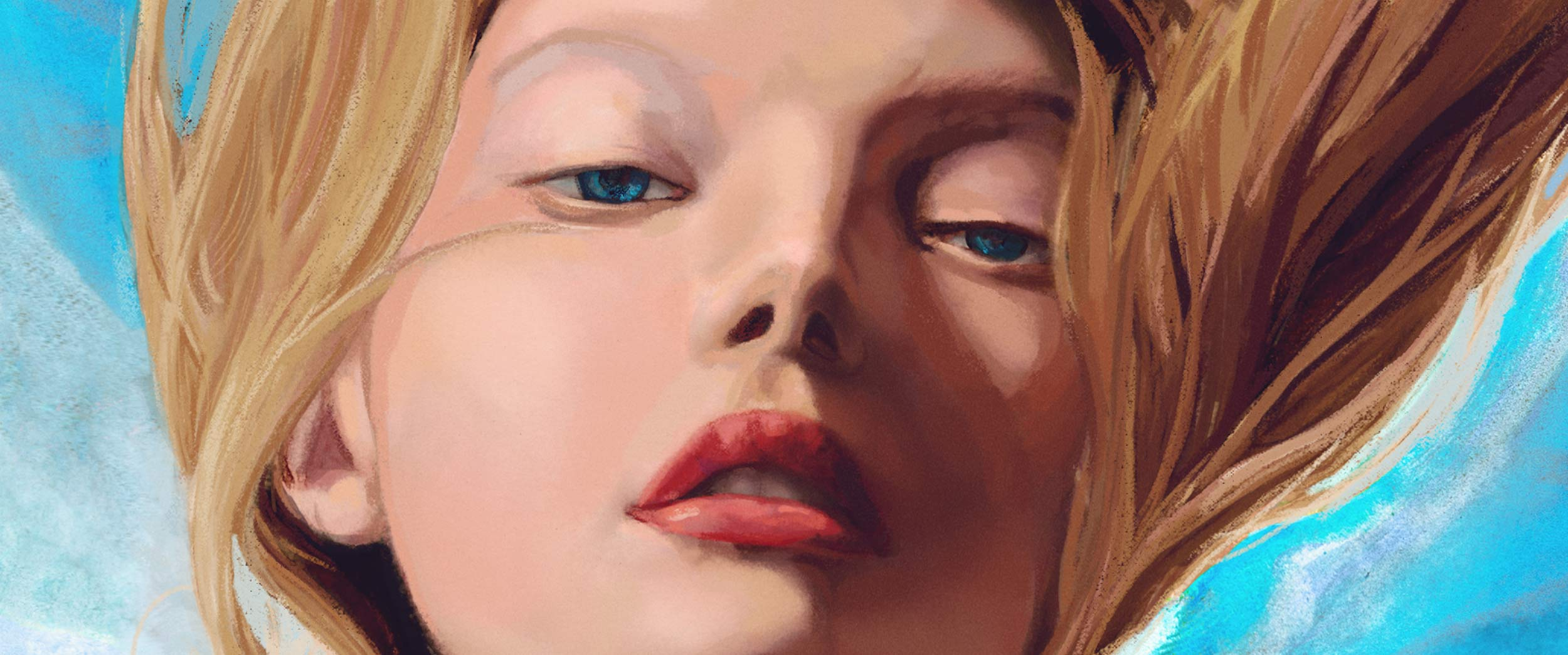 Close up Artist Danny Roberts Painting of Gemma Ward wearing benenciaga based on photo by nick knight