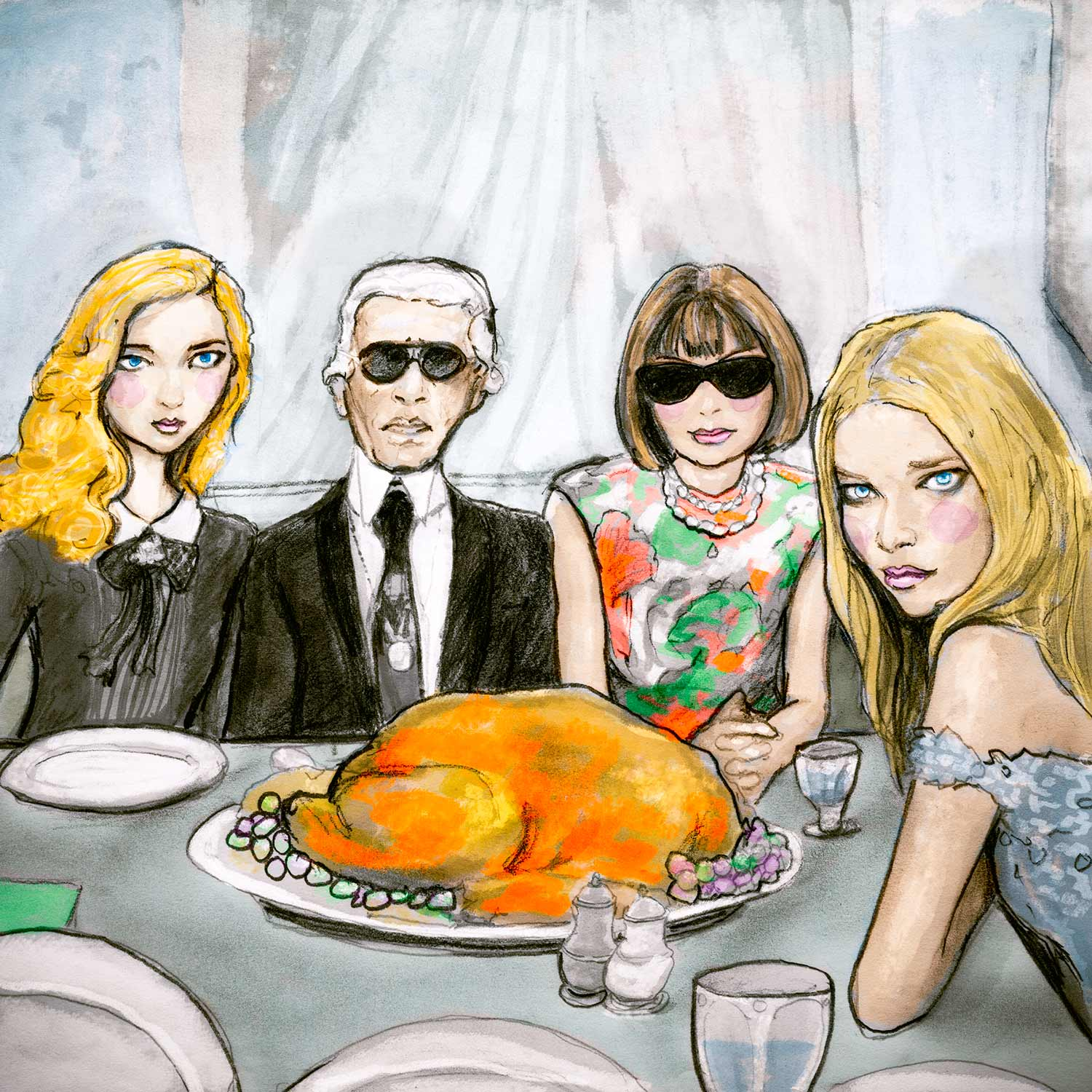 Artist Danny Roberts Fashion Illustration of Lily Cole, Karl Lagerfeld, Anna Wintour And Tanya Dziahileva