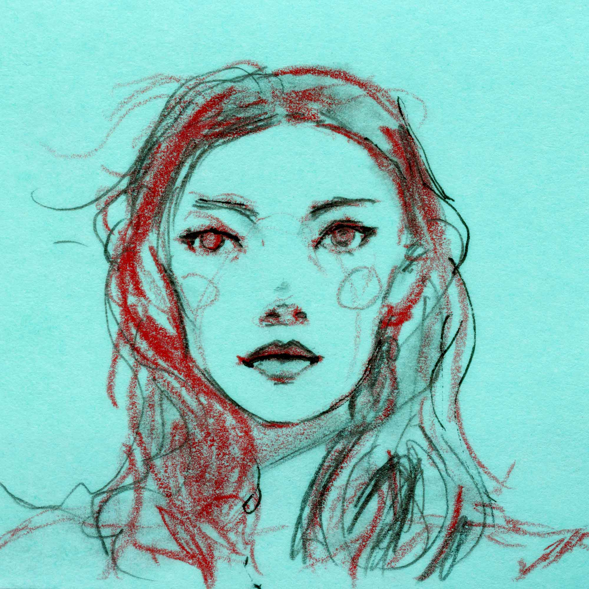 Artist Danny Roberts post-it sketch of model Julia Hafstrom green black and red