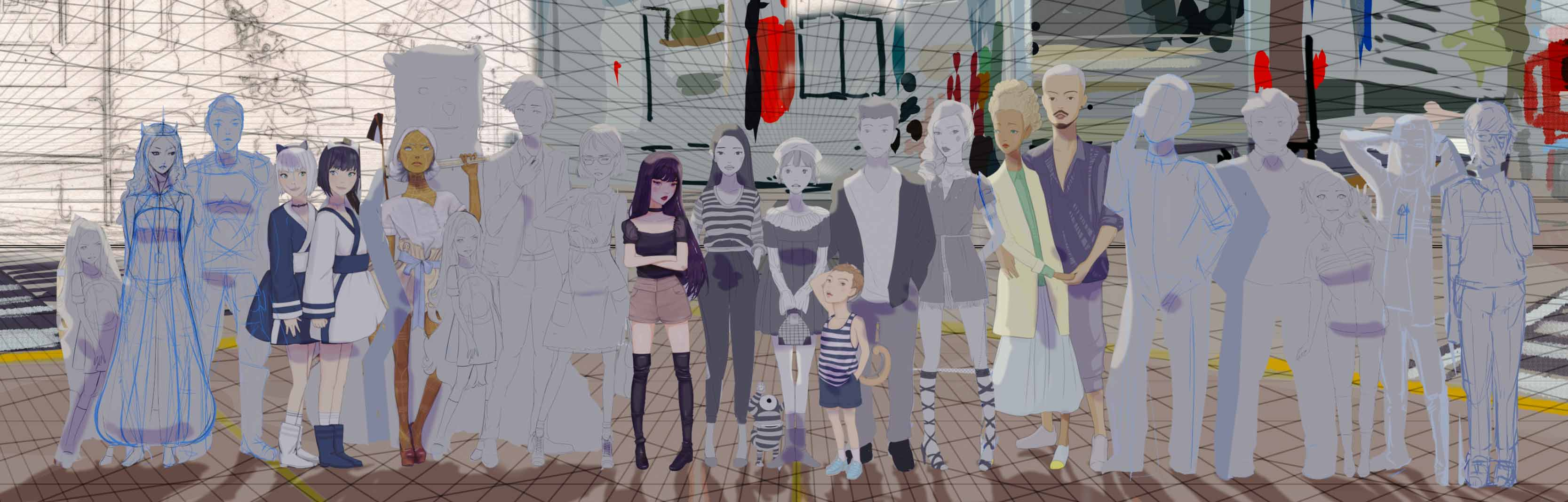 Artist Danny Roberts manga Lost in the Crowd Character Line up height Chart