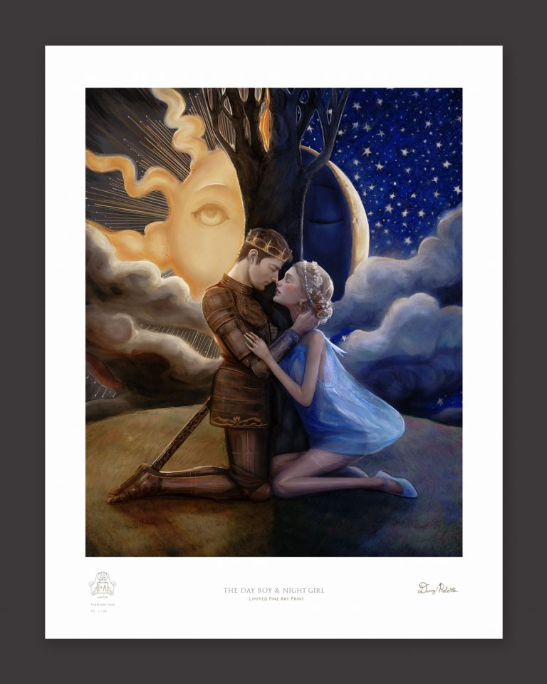 Artist Danny Roberts Limited edition print of the day boy and night girl Painting