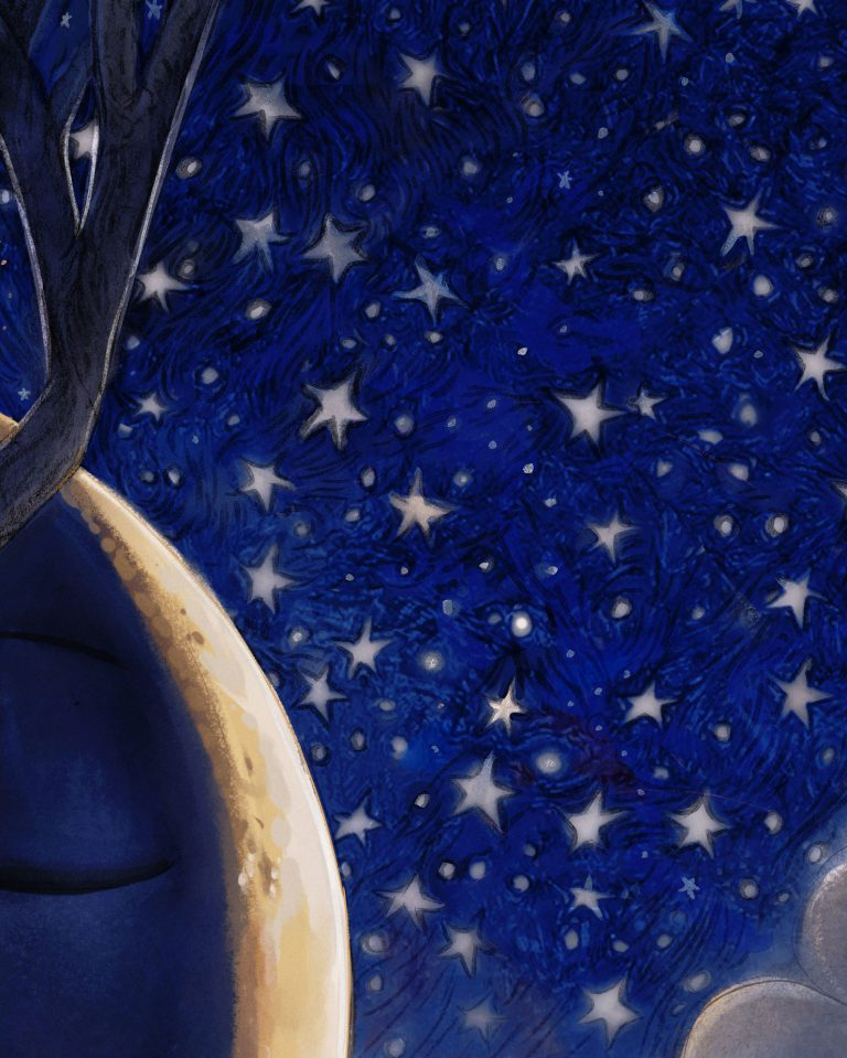 the day boy and night girl Painting by Artist Danny Roberts Close up of stars